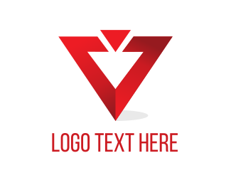 Vertex - Red Triangle  logo design