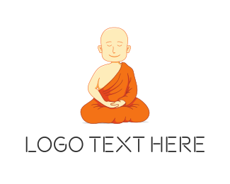 Meditate - Meditating Monk logo design