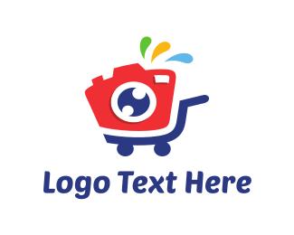 Shopping Cart - Camera Stroller logo design