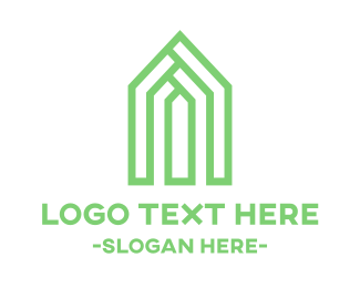 House - Geometric Green House logo design