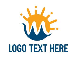 Tourism - Sun Wave M logo design