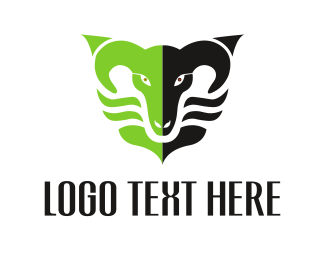 Antlers - Black & Green Ram logo design