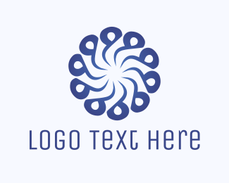 Spa - Abstract Blue Flower Swirl logo design