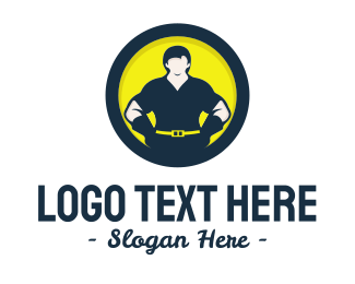 Repairman - Strong Man Circle logo design