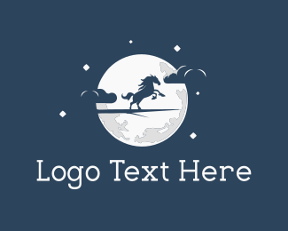 Stallion - Moon Horse logo design