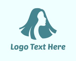 Hair Dresser - Long Hair Woman logo design