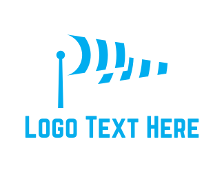 Antenna - Blue Wifi logo design