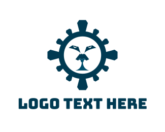Tiger - Blue Lion Face logo design