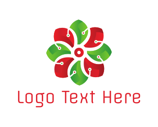 Computing - Flower & Circuits logo design