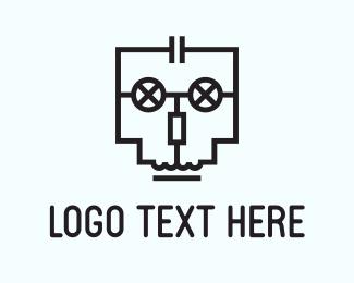 Bot - Circuit Skull logo design