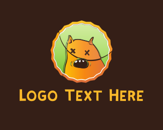 Dead - Orange Monster Cartoon logo design
