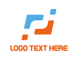 Vertex - Orange & Blue Corners logo design