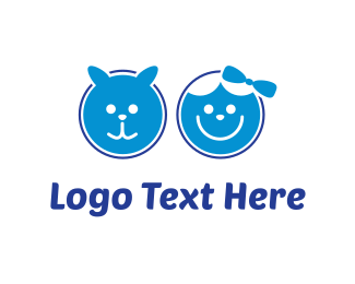 Girl - Blue Pet & Blue Kid logo design