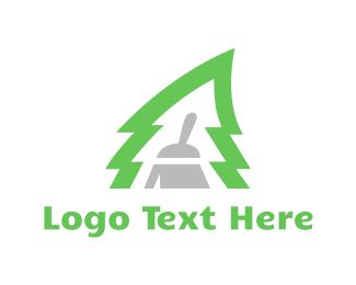 Broom - Pine Clean logo design