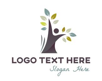 Black Tree Person Logo