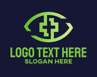 Eye Glasses - Green Cross Eye logo design
