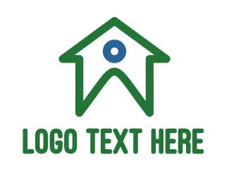 Rent - Green Person House logo design