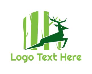Antelope - Green Deer logo design