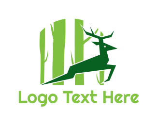 Reindeer - Green Deer logo design