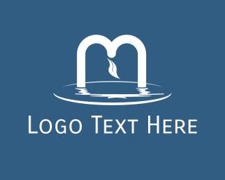 River - Pond Letter M logo design