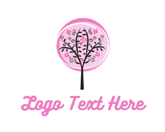 Cherry Blossom - Pink Tree logo design