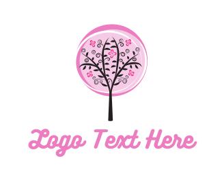 Girly - Pink Tree logo design
