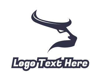 Meat - Abstract Blue Horns logo design