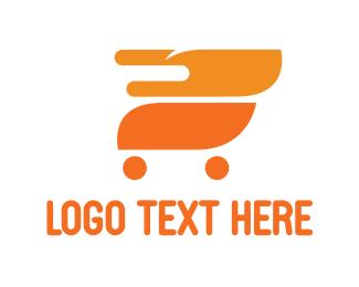 Shopping Cart - Fire Cart logo design