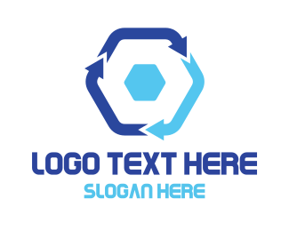 Sync - Hexagon Arrow Cycle logo design