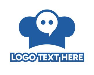 Food Delivery - Blue Chef Messaging logo design