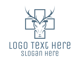 Antlers - Cross & Deer logo design