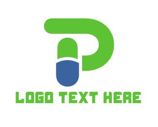 Pill - Capsule Letter P logo design