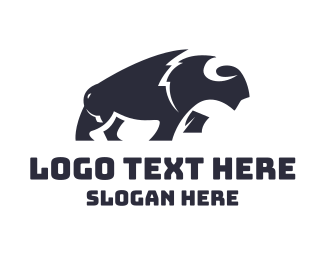 Sheep - Asbtract Black Bison logo design