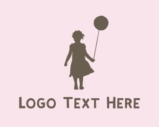 Female - Girl & Ballon logo design