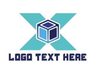 Programming - Blue Cube X logo design