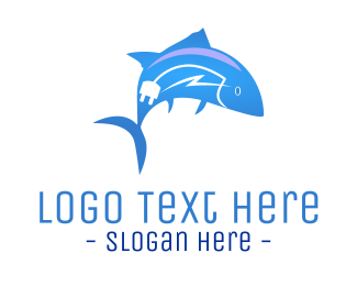 Plug - Electric Bluefish logo design