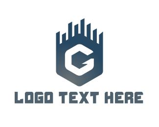 Skyline - Blue G Hexagon logo design