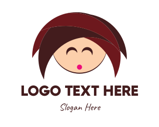 Head - Cute Girl logo design