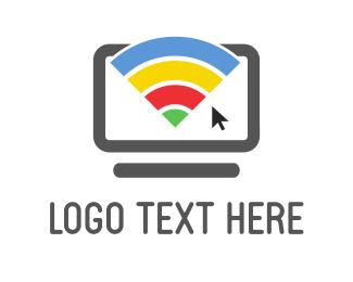 Laptop - Rainbow Wifi logo design