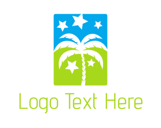 Coconut Tree - Palm & Stars logo design