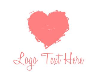 Scribble - Pink Heart  logo design