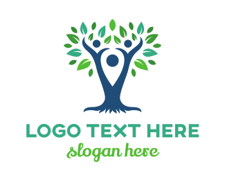 Parenthood - Blue Pin Tree logo design