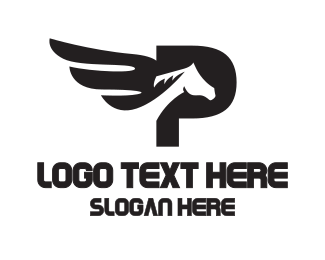 Pegasus - Black Pegasus P logo design