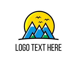 Pine Tree - Mountain Landscape logo design