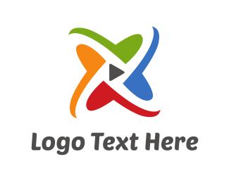 Interactive - Multimedia Play Button logo design