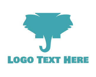 Mammoth - Blue Elephant  logo design
