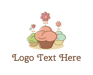 Food Truck - Cupcakes & Flowers logo design