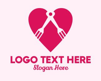 Food Review -  Heart Compass Fork logo design