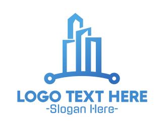 Silicon Valley - Blue Circuit City logo design