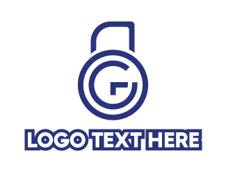 Locksmith - Blue G Padlock logo design